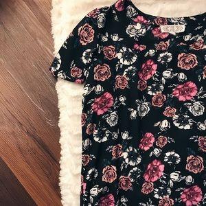 floral pink rose blouse